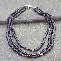 Garnet strand necklace, 'Cherry Wine' - Garnet Beaded Multi Strand Necklace