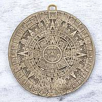 Ceramic plaque, 'Small Beige Aztec Calendar' - Ceramic plaque