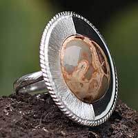 Leopard jasper solitaire ring, 'Dual Moon' - Leopard jasper solitaire ring