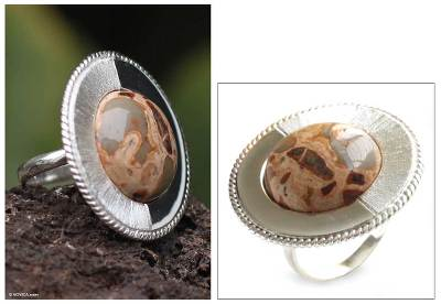 male rings silver bands - Leopard jasper solitaire ring