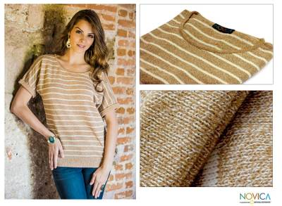 Cotton sweater, 'Cool Cocoa' - Guatemala Shortsleeve Natural Knit Top