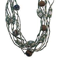 Cotton batik strand necklace,