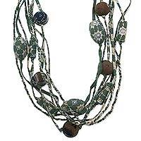 Cotton batik strand necklace, 'Vintage Java Green' (Indonesia)