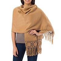 Alpaca blend shawl, 'Cinnamon Dream' - Cinnamon Hand Woven Alpaca Wool Shawl Wrap