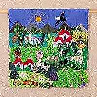 Applique wall hanging, 'Lettuce Harvest' - Applique wall hanging