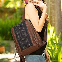 Leather and cotton backpack bag, 'Hmong Paths' - Leather and cotton backpack bag