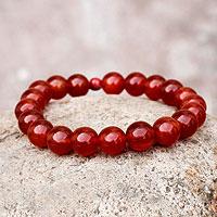 Carnelian and ceramic stretch bracelet,