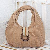 Cotton hobo handbag, 'Natural Hazelnut' - Handwoven Natural Brown Cotton Hobo Handbag