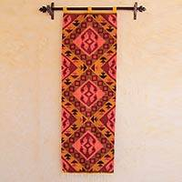 Wool tapestry, 'Parihuana Birds' - Handmade Wool Tapestry with Stylized Bird Motifs