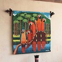 Wool tapestry, 'Macaw Clan' - Wool Parrot and Jungle Themed Tapestry