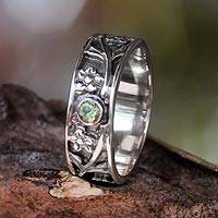 Peridot band ring, 'Gift from the Sun' - Sterling Silver and Peridot Band Ring