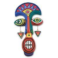 Ceramic mask, 'Tumi Face' - Peruvian Hand Made Colorful Mask Sculpture