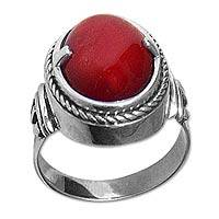 Carnelian solitaire ring, 'Dragon Eye' - Handmade Sterling Silver and Carnelian Ring