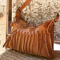 Leather shoulder bag, 'Bees to Honey' - Leather shoulder bag