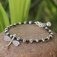 Silver charm bracelet, 'Good Luck Dragonfly' (Thailand)