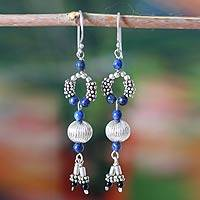 Lapis lazuli chandelier earrings, 'Persian Princess' - Lapis lazuli chandelier earrings