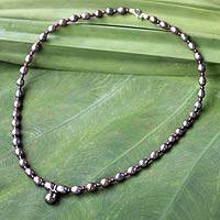 Pearl and garnet choker, 'Her Beauty' (Thailand)