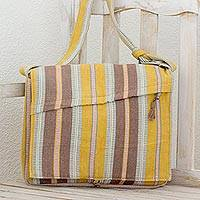 Cotton shoulder bag, 'Verdant Plains' - Cotton Striped Grey and Green Flap Handbag