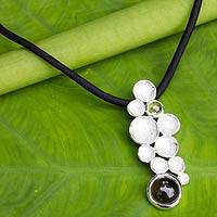 Peridot and smokey quartz pendant necklace, 'All Bubbly' - Modern Women's Necklace with Gems and Silver on Silk