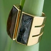 Gold plated labradorite and smoky quartz wrap ring, 'Love' - Brazilian Gold Plated Labradorite and Quartz Wrap Ring