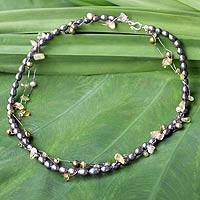 Pearl and citrine choker, 'Forest Vine' - Pearl and Citrine Necklace