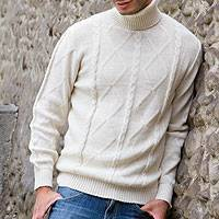 Men's 100% alpaca sweater, 'Andean Cream' - Men's Alpaca Wool Pullover Turtleneck Sweater from Peru