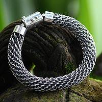 Sterling silver braided bracelet, 'Eternity' - Sterling Silver Chain Bracelet