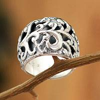 Sterling silver band ring, 'Wild Charm' - Sterling silver band ring