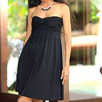 Strapless dress, 'Black Bali Twist' - Strapless Empire Waist Dress