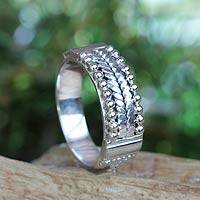 Sterling silver band ring, 'Vintage Art' - Sterling Silver Ring Bali Artisan Jewelry