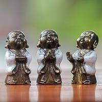 Bronze figurines, 'Little Buddha in White' (set of 3) - Three Antique Style Bronze Buddha Images from Bali