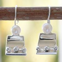 Pearl dangle earrings, 'Mystical Accordions' - Sterling Silver ModernPearl Earrings
