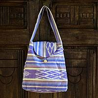 Cotton shoulder bag, 'Maya Bouquet' - Women's Purple Cotton Flap Handbag