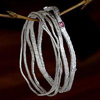 Moonstone and amethyst bangle bracelets,