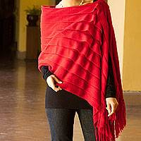100% alpaca poncho, 'Illusions of Red' - Genuine Alpaca 2-in-1 Poncho and Shawl from Peru