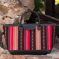 Cotton and leather accent handbag,