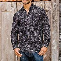 Men's cotton batik shirt, 'Cosmos' - Men's Hand Made Batik Cotton Shirt