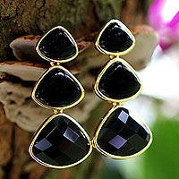 Gold plated onyx drop earrings,