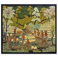 Batik wall art, 'The Rice Crop' - Batik wall art