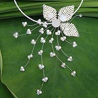 Pearl flower necklace, 'Ice Comet' - Pearl flower necklace