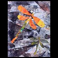 'Together, Flying' - Expressionist Dragonfly Painting