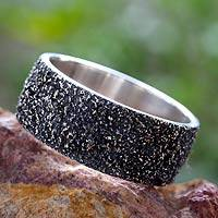 Silver band ring, 'Sands of Cuyutlan' - Textured Fine Silver Band Ring