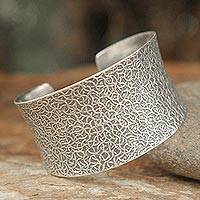 Sterling silver cuff bracelet, 'Bold Wild Nature' - Sterling Silver Cuff Bracelet