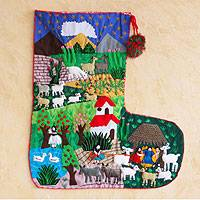 Applique Christmas stocking, 'Manger in Peru' - Applique Christmas stocking