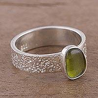Peridot solitaire ring, 'Love Forever' - Artisan Crafted Single Stone Peridot Solitaire Ring