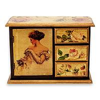Decoupage mini chest Lady with a Cat Mexico