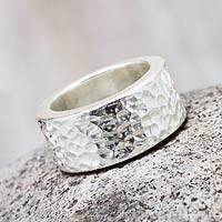 Sterling silver band ring, 'Heavenly Path' - Handcrafted Balinese Silver Band Ring