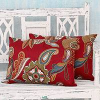 Applique cushion covers, 'Burgundy Beauty' (pair) - 2 Handmade Applique Cushion Covers with Machine Embroidery