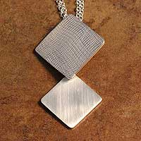 Sterling silver long pendant necklace, 'Pride' - Textured Sterling Silver Long Pendant Necklace
