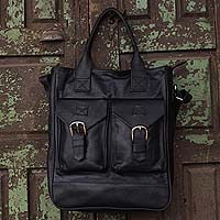 Leather travel bag, 'Globetrotter' - Roomy Black Leather Handcrafted Travel Tote with 6 Pockets